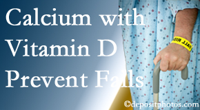 Calcium and vitamin D supplementation may be recommended to Ashburn chiropractic patients who are at risk of falling.