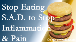 Ashburn chiropractic patients do well to avoid the S.A.D. diet to decrease inflammation and pain.