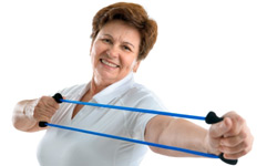 woman exercising with a band