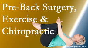 Poulin Chiropractic of Herndon and Ashburn suggests beneficial pre-back surgery chiropractic care and exercise to physically prepare for and possibly avoid back surgery.