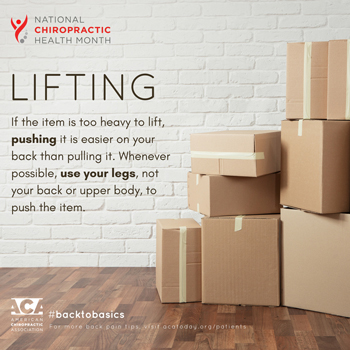Poulin Chiropractic of Herndon and Ashburn advises lifting with your legs.