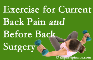 Ashburn exercise benefits patients with non-specific back pain and pre-back surgery patients though it's not often prescribed as much as opioids.