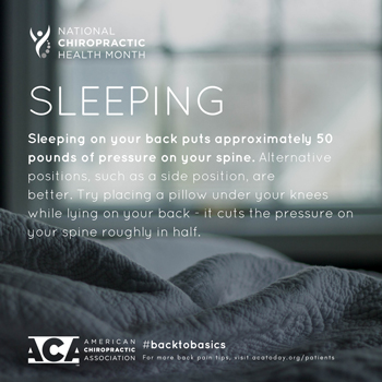 Poulin Chiropractic of Herndon and Ashburn recommends putting a pillow under your knees when sleeping on your back.